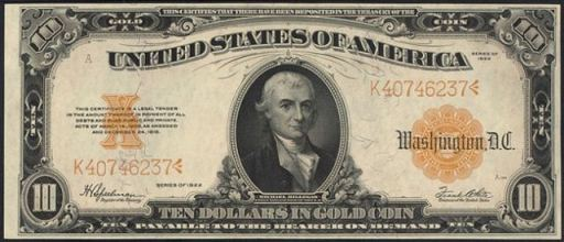 Antique Money Ten Dollar Bills From The 1920s