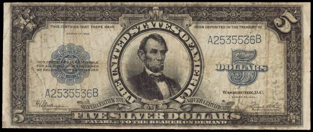 1923 $5 bill in fine condition
