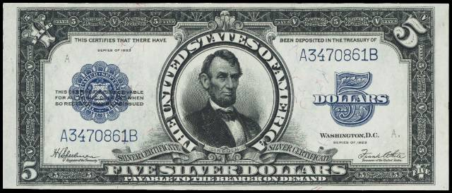 1923 $5 silver certificate in gem condition