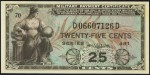 Value of Series 481 25 Cent Military Payment Certificate